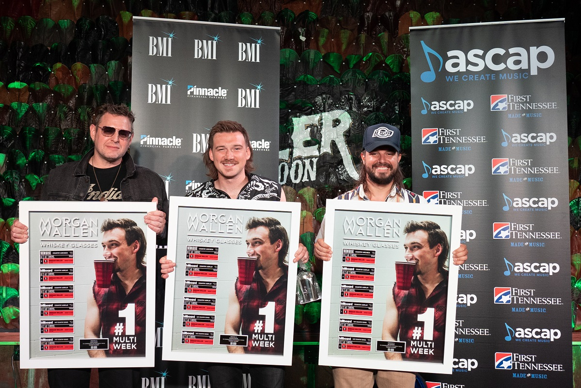 ASCAP Songwriter Kevin Kadish, Morgan Wallen, BMI Songwriter Ben Burgess; Photo by Steve Lowry
