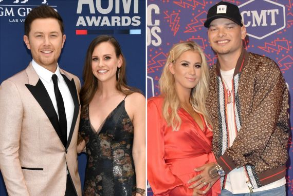 Scotty McCreery and Gabi; Photo by Ethan Miller/Getty Images/ Kane Brown and Katelyn; Photo by Michael Loccisano/Getty Images