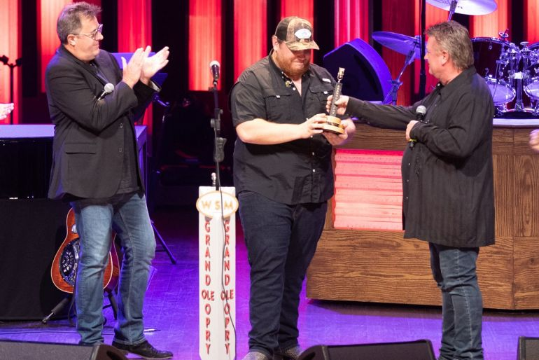 Vince Gill, Luke Combs, Joe Diffie; Photo by Chris Hollo