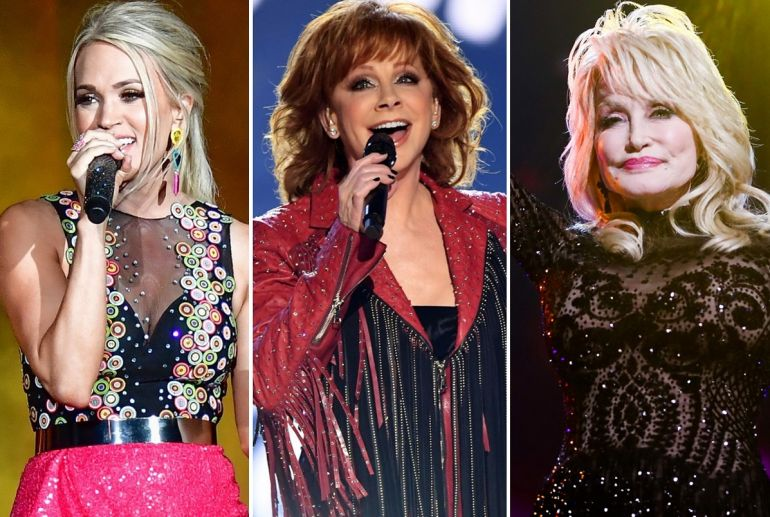 Carrie Underwood; Photo by Erika Goldring/Getty Images for CMT, Reba McEntire; Photo by Kevin Winter/Getty Images, Dolly Parton; Photo by Rich Fury/Getty Images for The Recording Academy