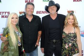 Gwen Stefani, Blake Shelton, Trace Adkins, and Victoria Pratt; Photo by Joshua Blanchard/Getty Images for Forrest Film