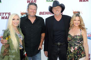 Gwen Stefani, Blake Shelton, Trace Adkins, and Victoria Pratt; Photo by Joshua Blanchard/Getty Images for Forrest Film
