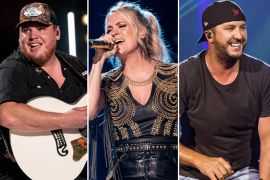 Luke Combs, Carrie Underwood, Luke Bryan; Photos by Andrew Wendowski
