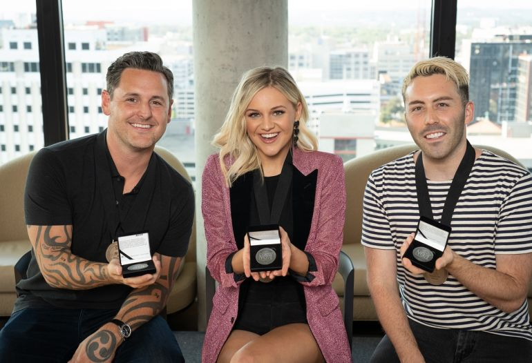 David Hodges, Kelsea Ballerini, Leland; Photo by Steve Lowry
