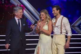 Tom Bergeron, Lauren Alaina, Gleb Savchenko; Photo by ABC/Eric McCandless
