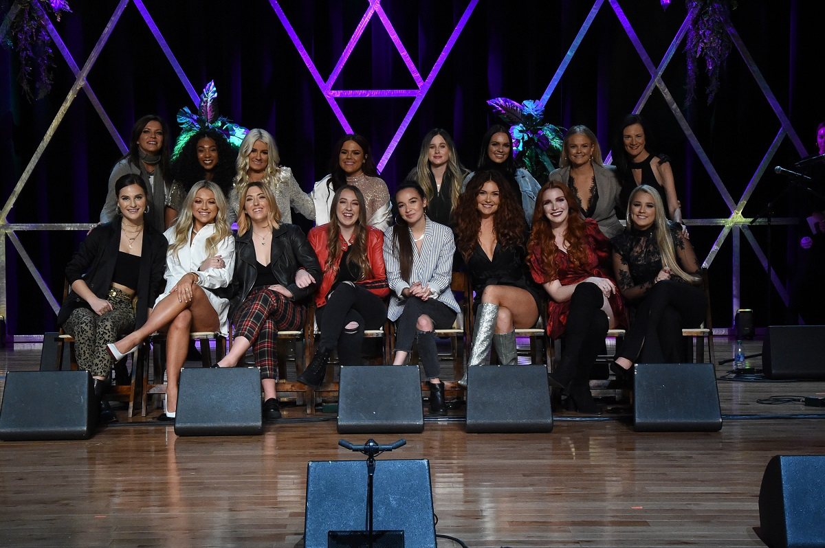 Next Women of Country crew during the 2019 CMT Next Women Of Country Celebration at CMA Theater at the Country Music Hall of Fame and Museum on November 12, 2019 in Nashville, Tennessee; Photo by Rick Diamond/Getty Images for CMT