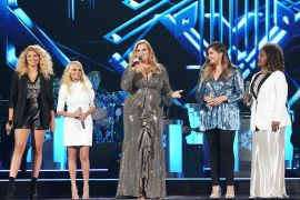 "Trisha Yearwood (center) performs ""Children Go Where I Send Thee"" with (L – R) Tori Kelly, Kristin Chenoweth, Hillary Scott and CeCe Winans; Photo by Donn Jones/CMA"