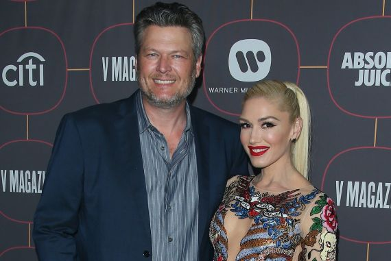 Blake Shelton and Gwen Stefani; Photo by Jean Baptiste Lacroix/Getty Images