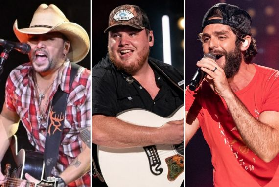 Jason Aldean; Photo by David Becker- Getty Images, Luke Combs, Thomas Rhett; Photos by Andrew Wendowski