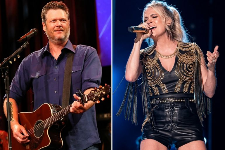 Blake Shelton; Photo by Terry Wyatt/Getty Images for Musicians On Call, Carrie Underwood; Photo by Andrew Wendowski