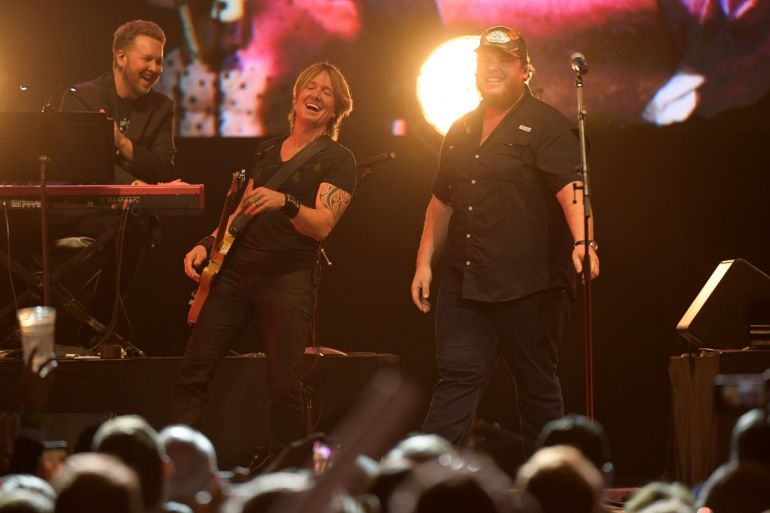 Keith Urban and Luke Combs; Photo by Jason Kempin/Getty Images for Country Music Hall of Fame and Museum