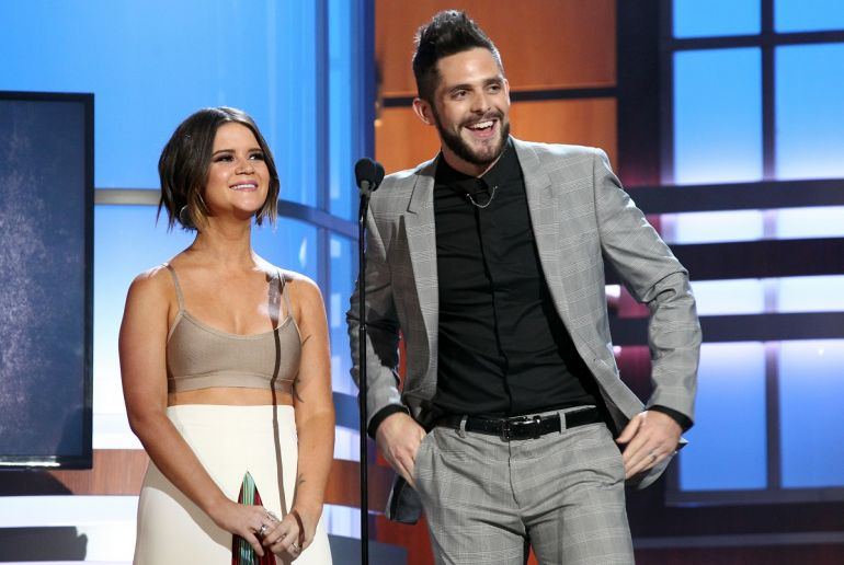 Maren Morris and Thomas Rhett; Photo by Terry Wyatt/Getty Images for ACM