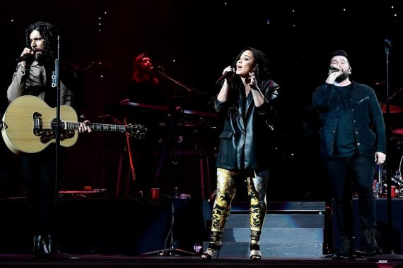 Dan + Shay and Demi Lovato; Photo by Frazer Harrison/Getty Images for Bud Light Super Bowl Music Fest