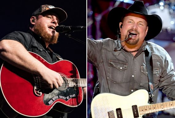 Luke Combs; Photo by Andrew Wendowski, Garth Brooks; Photo by Kevin Winter/Getty Images for iHeartMedia