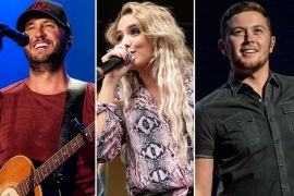 Luke Bryan, Gabby Barrett, Scotty McCreery; Photos by Andrew Wendowski