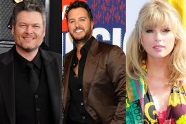 Luke Bryan; Photo by Rick Diamond/Getty Images for CMT, Blake Shelton; Photo by Frazer Harrison/Getty Images for The Recording Academy, Taylor Swift; Photo by Photo by Rich Fury/Getty Images